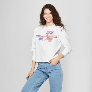 NWT Women's Nasa Long Sleeve Cropped Graphic T